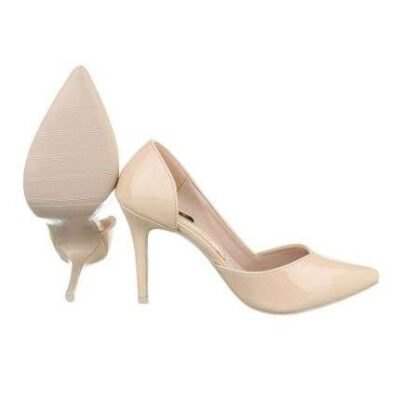 Beige Open Side Pumps